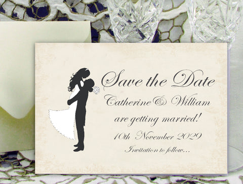 027 Silhouette Script Save the Date Card