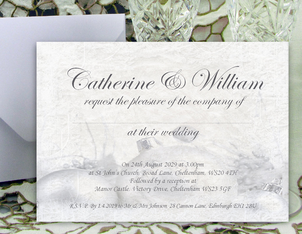 072 Silver Baubles Wedding Invitations