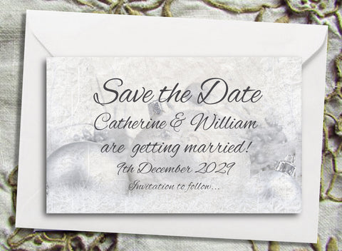 072 Silver Baubles Save the Date Magnet