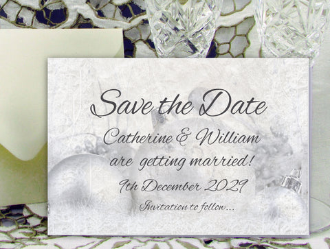 072 Silver Baubles Save the Date Card