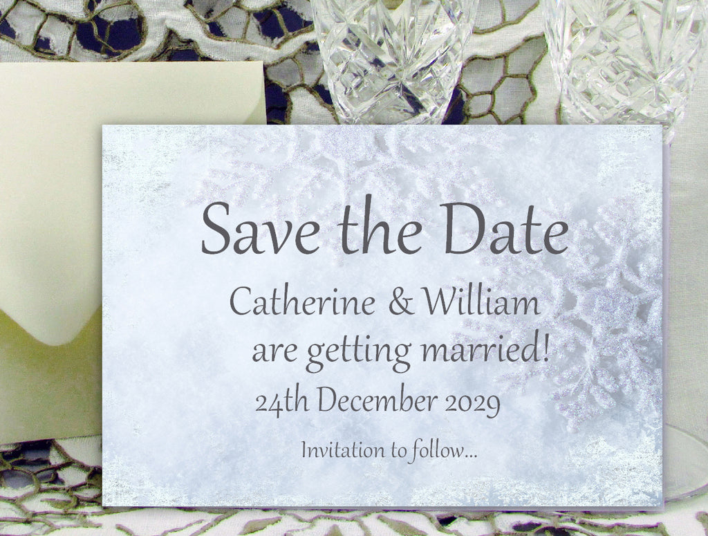 040 Frosty Shimmer Save the Date Card