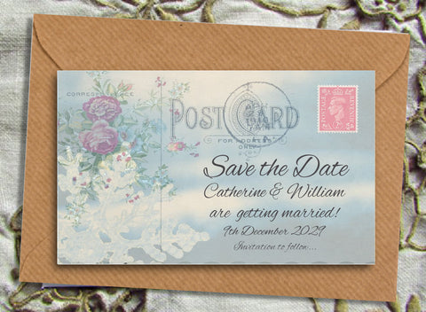060 Postcard Snowflake Save the Date Magnet