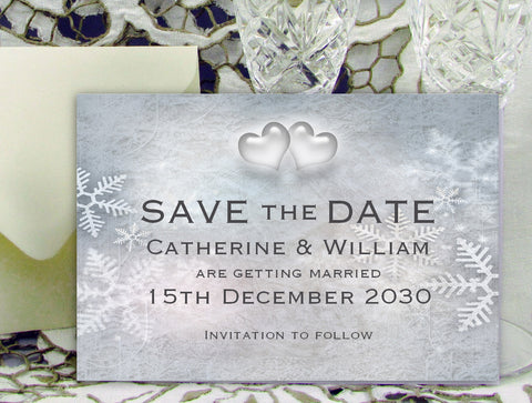 012 Snowflake Hearts Save the Date Card