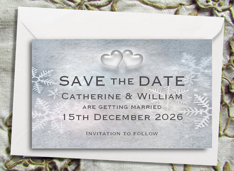 012 Snowflake Hearts Save the Date Magnet