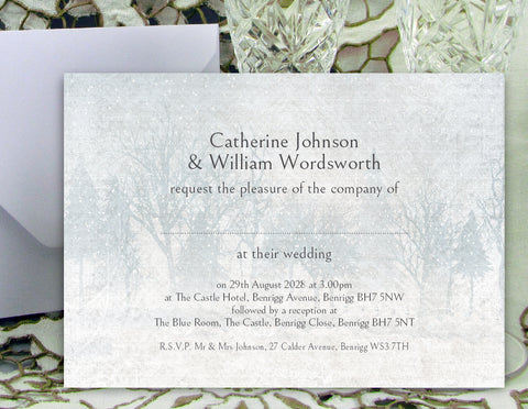 078 Snow Scene Wedding Invitations