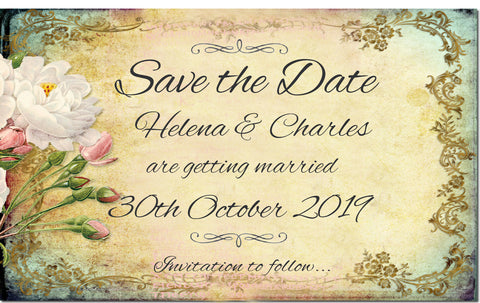 016 Flower Filigree Save the Date Magnet