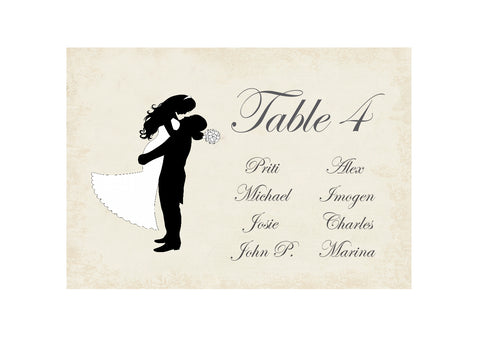 027 Silhouette Script Seating Plan Cards