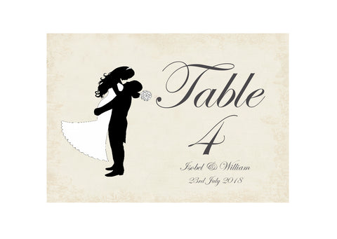 027 Silhouette Script Table Number Cards