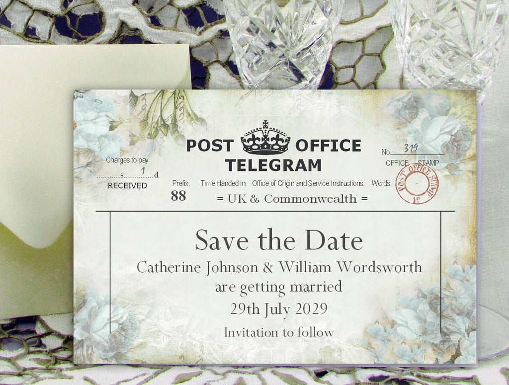 039 Flower Telegram Save the Date Card