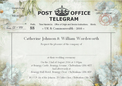 039 Flower Telegram Wedding Invitations