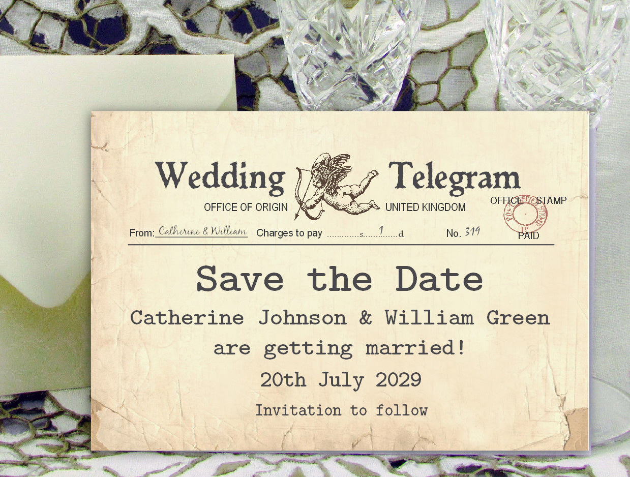 023 Cupid Telegram Save the Date Cards