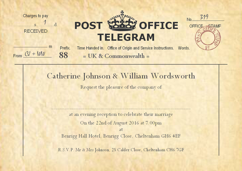 004 PO Telegram Wedding Invitations