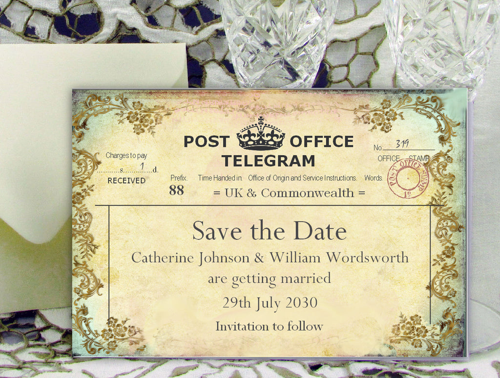 011 Filigree Telegram Save the Date Card