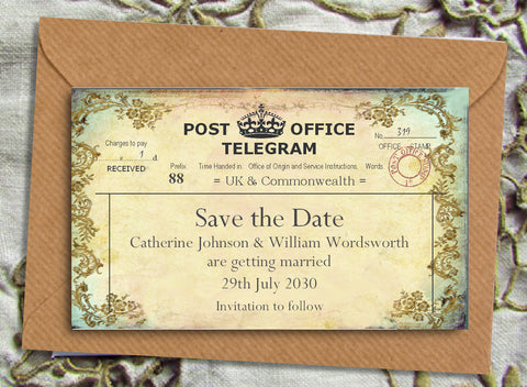 011 Filigree Telegram Save the Date Magnet