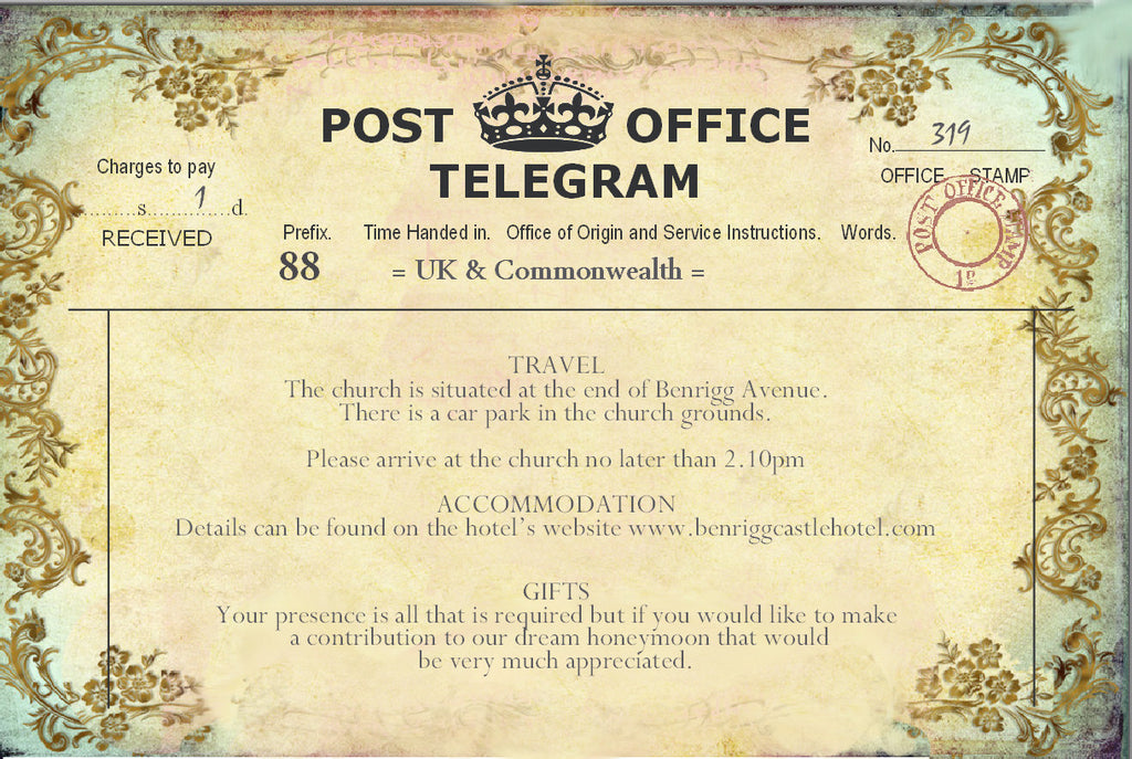 011 Filigree Telegram Information Cards