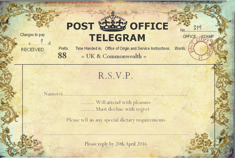 011 Filigree Telegram R.S.V.P. Cards