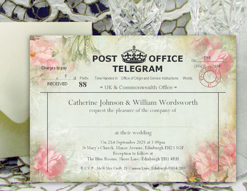 057 Pink Telegram Wedding Invitations