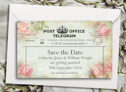 057 Pink Telegram Save the Date Magnet