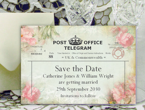 057 Pink Telegram Save the Date Card