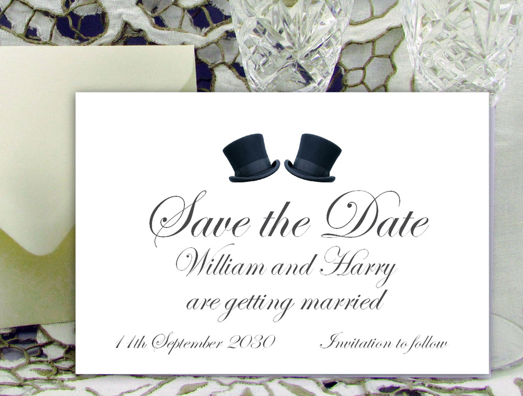 081 Top Hats Save the Date Card