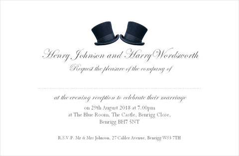 081 Top Hats Wedding Invitations