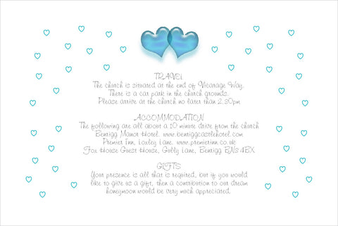086 Turquoise Hearts Information Cards