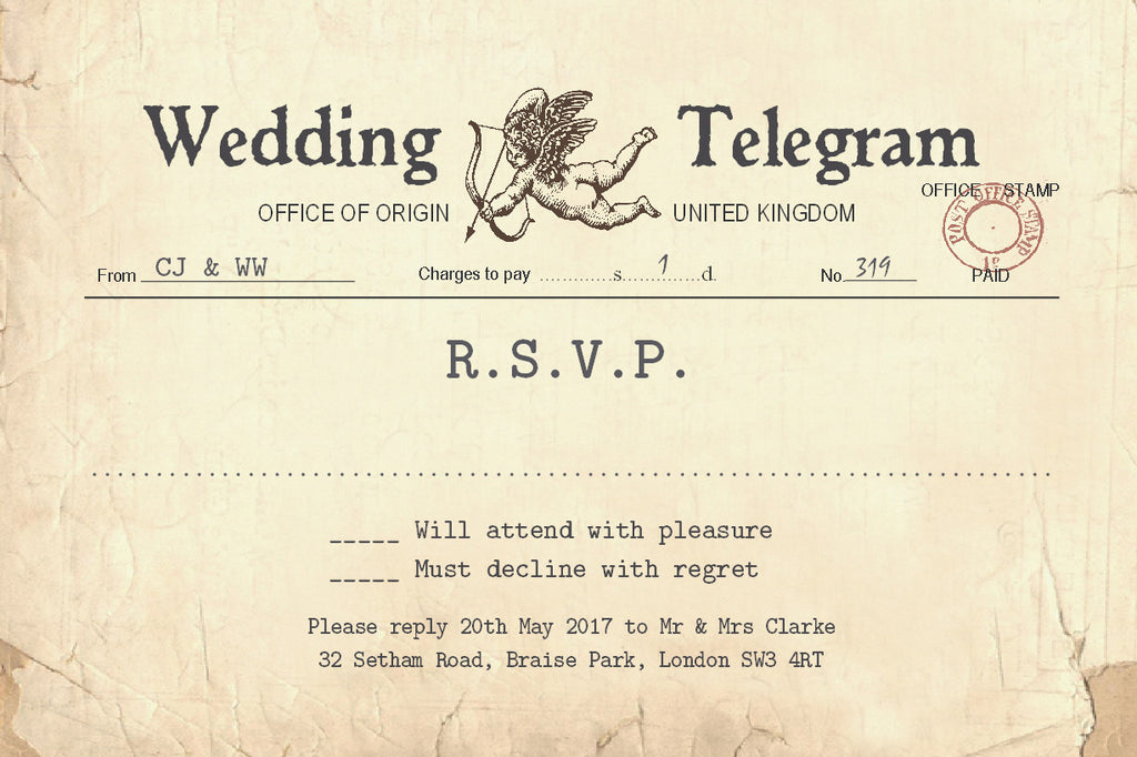 023 Cupid Telegram R.S.V.P. Cards