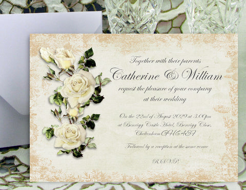 068 Rose Shabby Wedding Invitations