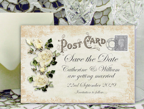 068 Rose Shabby Save the Date Card