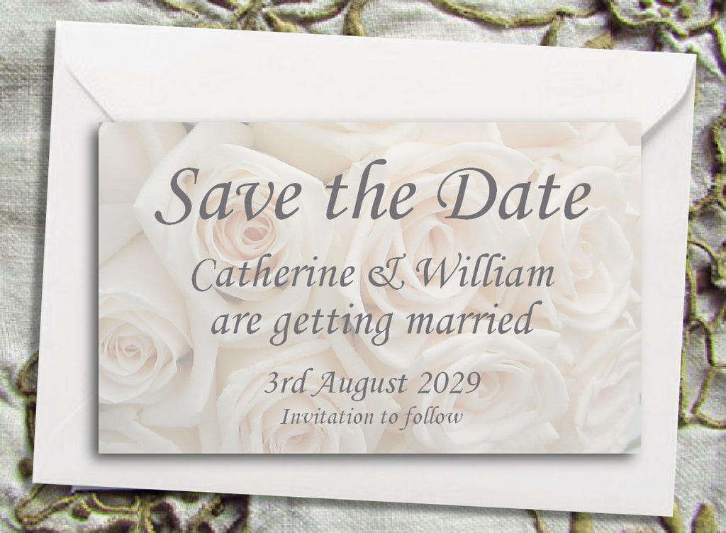 020 Ivory Roses Save the Date Magnet