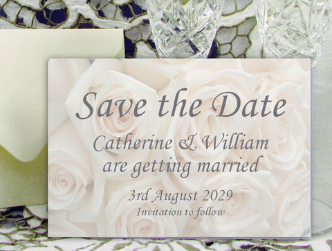 020 Ivory Roses Save the Date Card