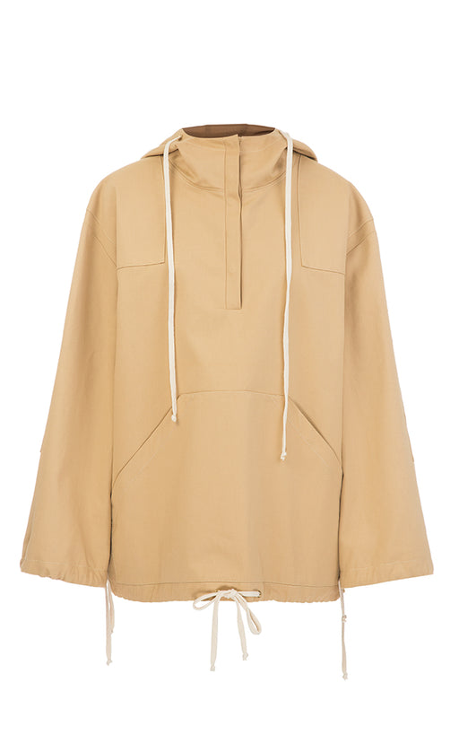 Beige hooded anorak