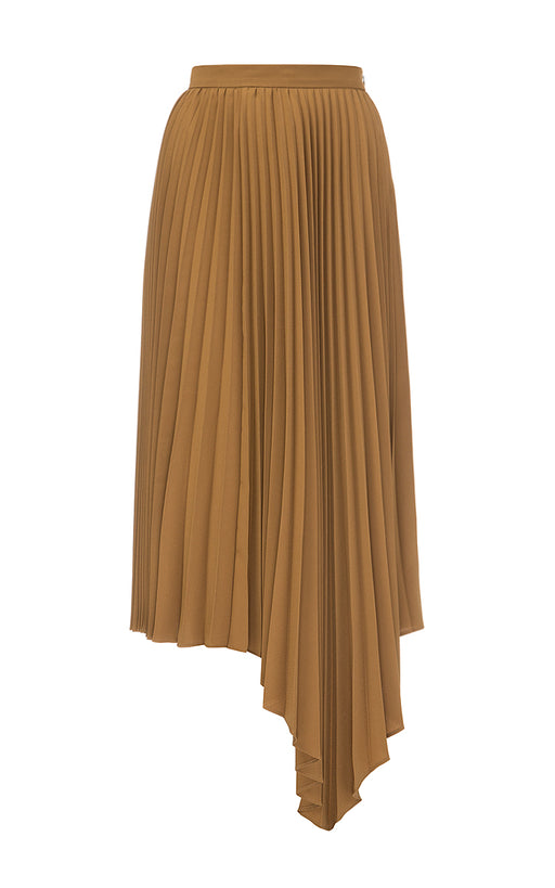 Brown Assymetric Pleated Skirt