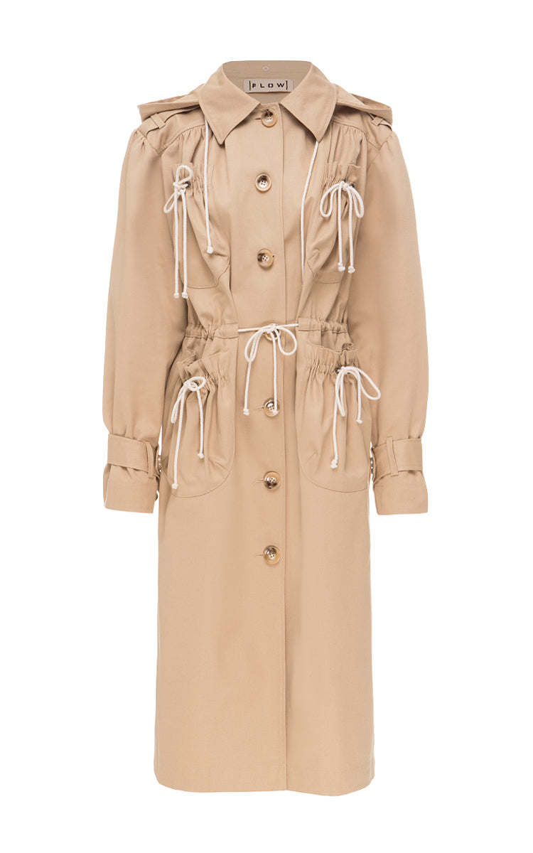 Cotton trench coat with patch pockets