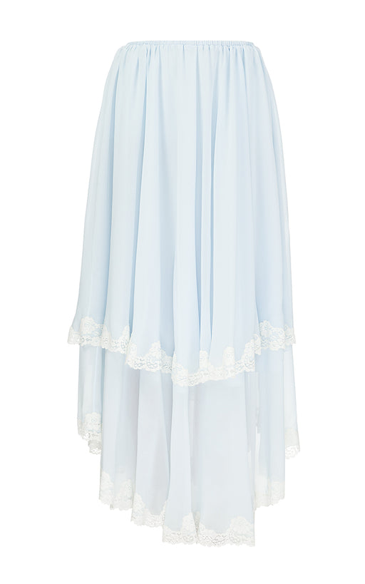 Blue Chiffon Skirt with White Lace