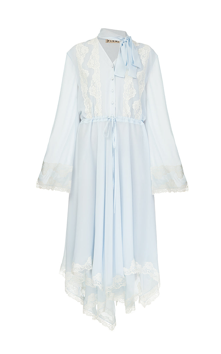 Blue Chiffon Dress with White Lace