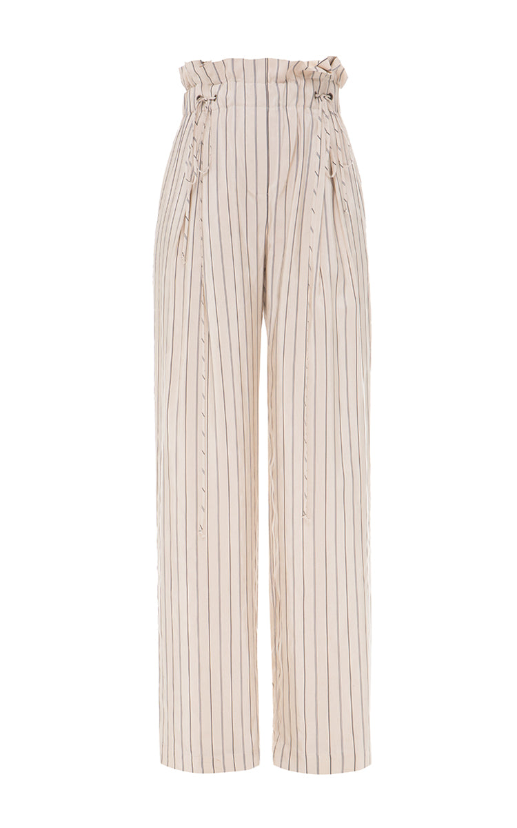 Striped pants with drawstrings