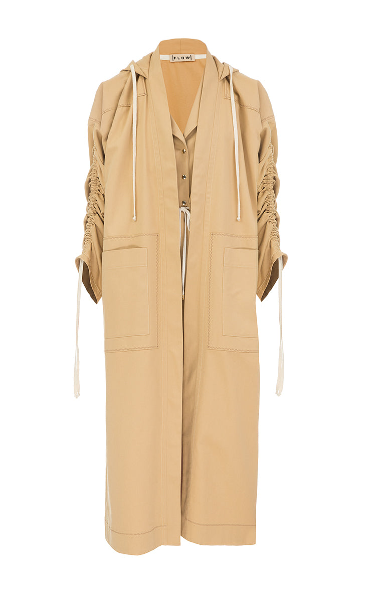 Cotton trench coat with strings