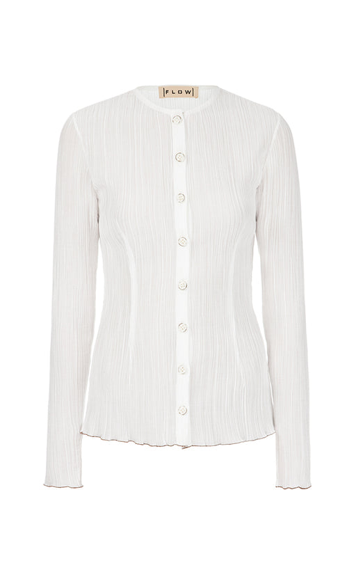 Milk Frilled Blouse with Buttons