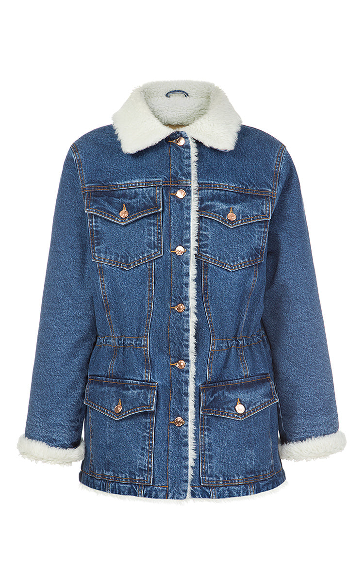 Denim Jacket with Faux Fur Lining
