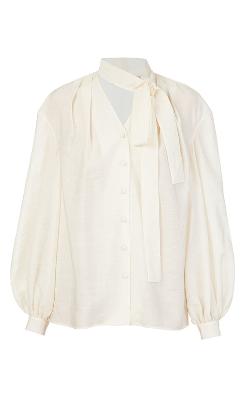 Milk Batiste Blouse with Bowtie