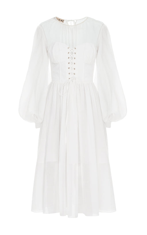 Long Sleeve Cotton Corset Dress