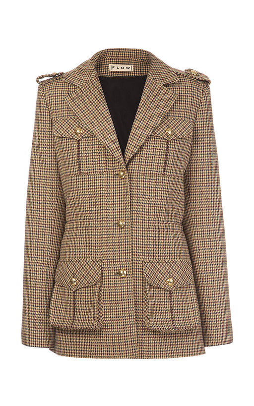 Checked Jacket with Shoulder Stripes