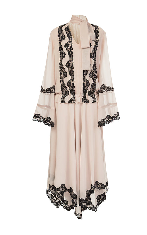 Beige Chiffon Dress with Black Lace