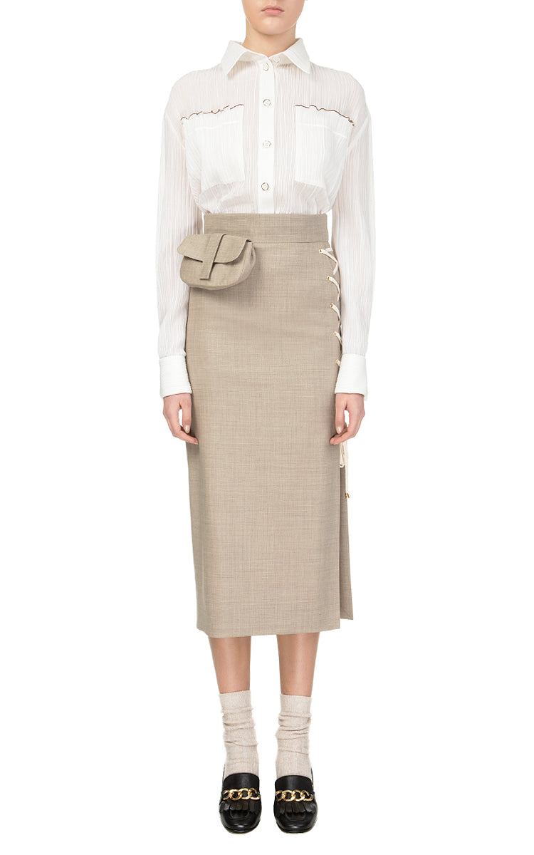 Grey Skirt with Laces and Belt Bag