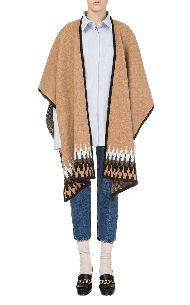 Beige Poncho with Ornament