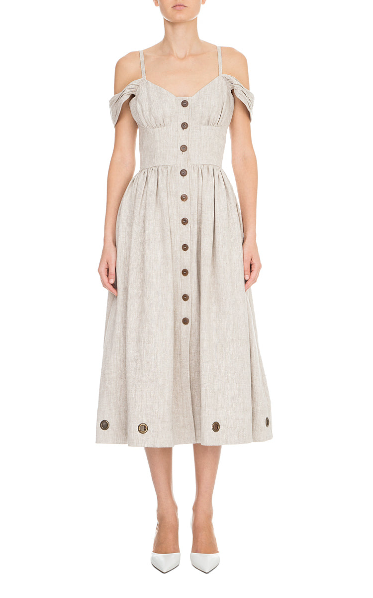 Open Shoulder Linen Dress