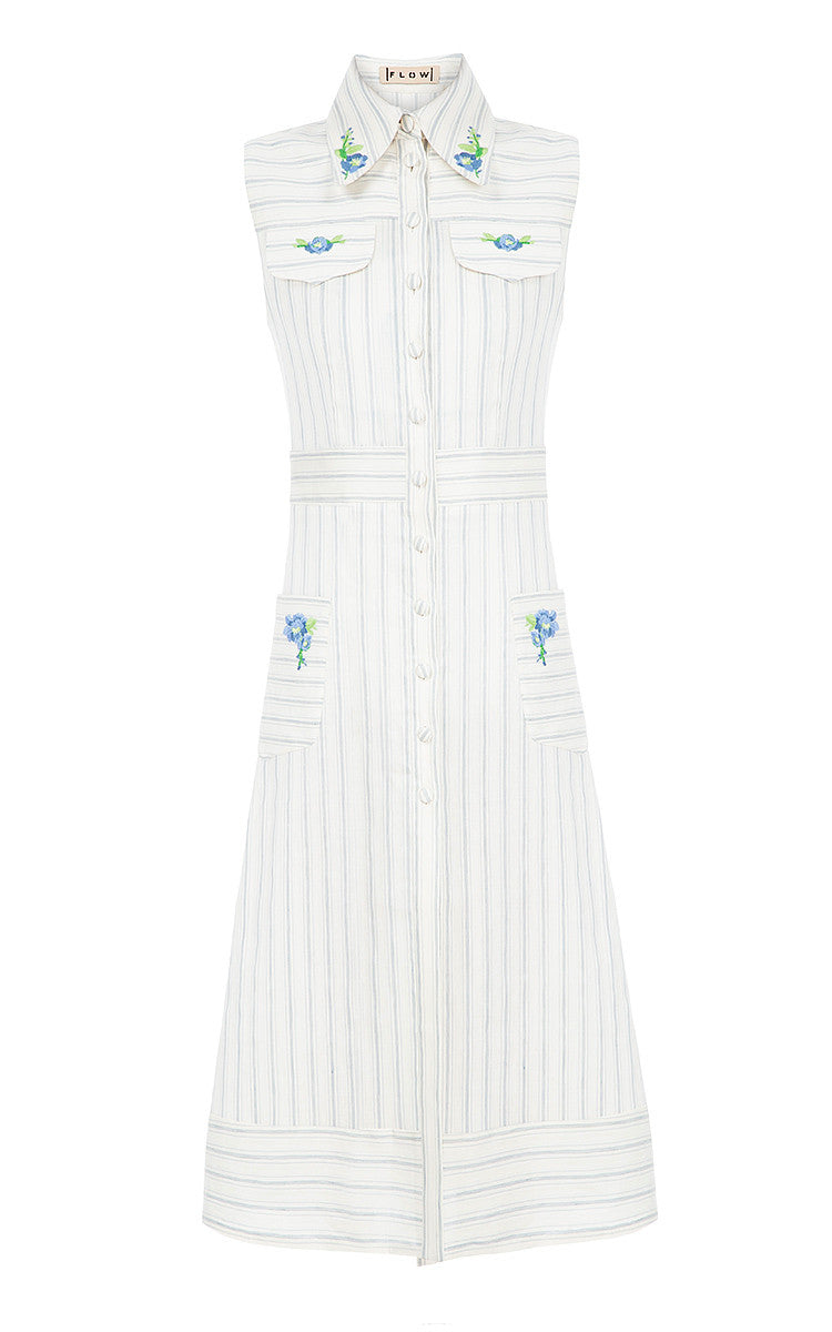 Long Stripe Embroidered Vest