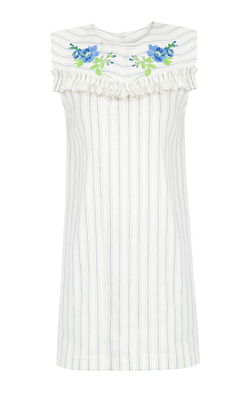 Striped Linen Mini Dress with Floral Embroidery