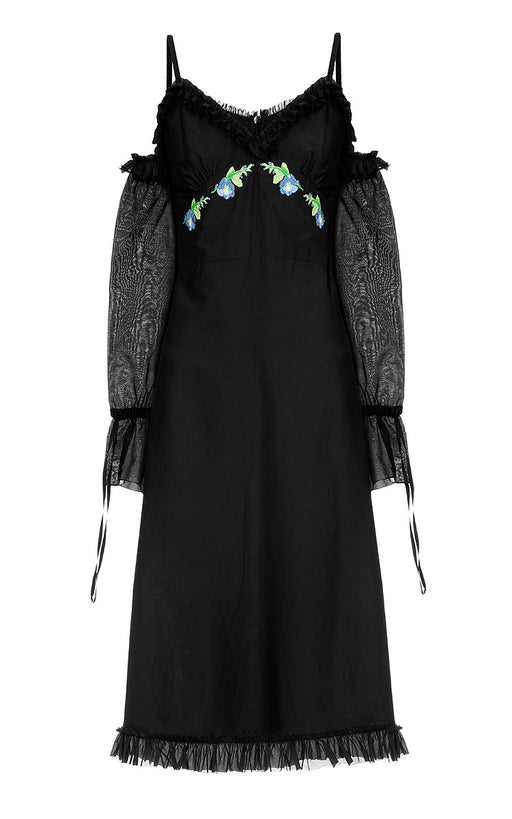 Black Silk-Cotton Dress with Open Shoulders and Floral Embroidery